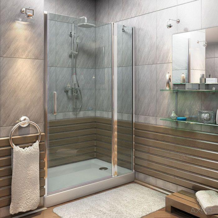 Использование ниши в стене и стеклянной перегородки для создания полноценной душевой кабины