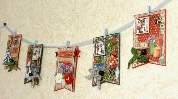 Из скрапбумаги и дополнительных элементов часто делают открытки. А вот из таких праздничных открыток можно собрать сногсшибательно красивую гирлянду