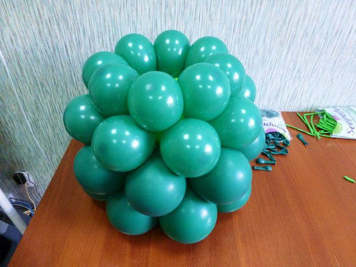 """Берём шары диаметром 5"""", на каждый делаем 5 ходов насоса. Третий и четвёртый ряд собирается аналогично первым двум"""