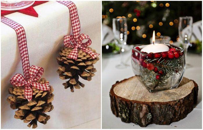 Обычная шишка или спил дерева становятся элементами Нового года