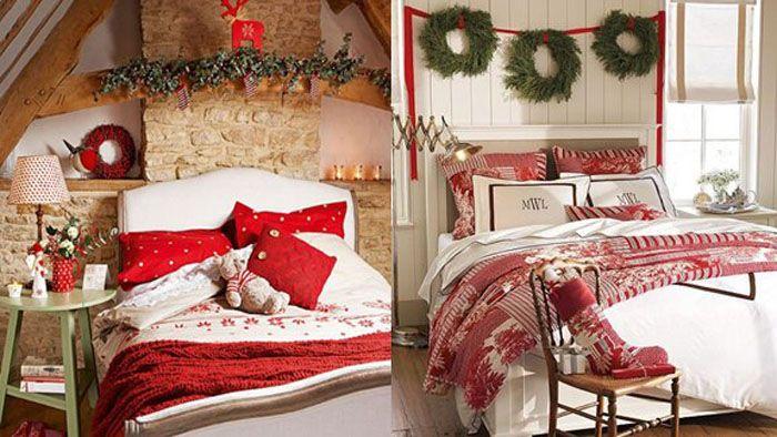 Спальню декорируют венками, носочками-сапожками, тематическим текстилем и гирляндами