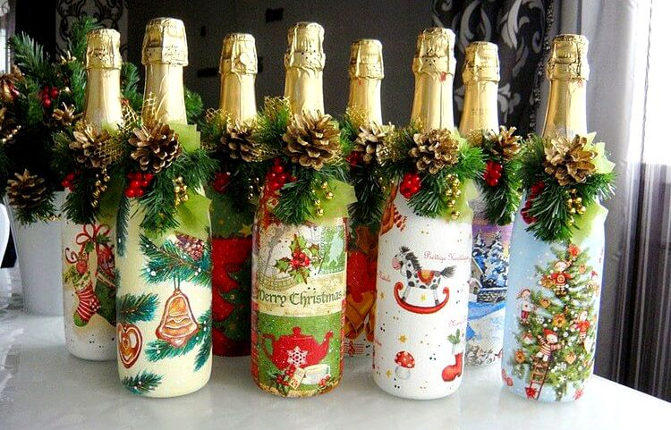 Как украсить шампанское своими руками 378