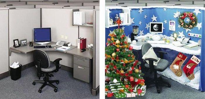 Самое скучное и унылое рабочее место в Новый год лучше превратить в другой мир, полный сюрпризов и ожиданий чуда. Для основы декора можно заказать оракал подходящих цветов. Он легко потом снимется со стен, не оставив следов