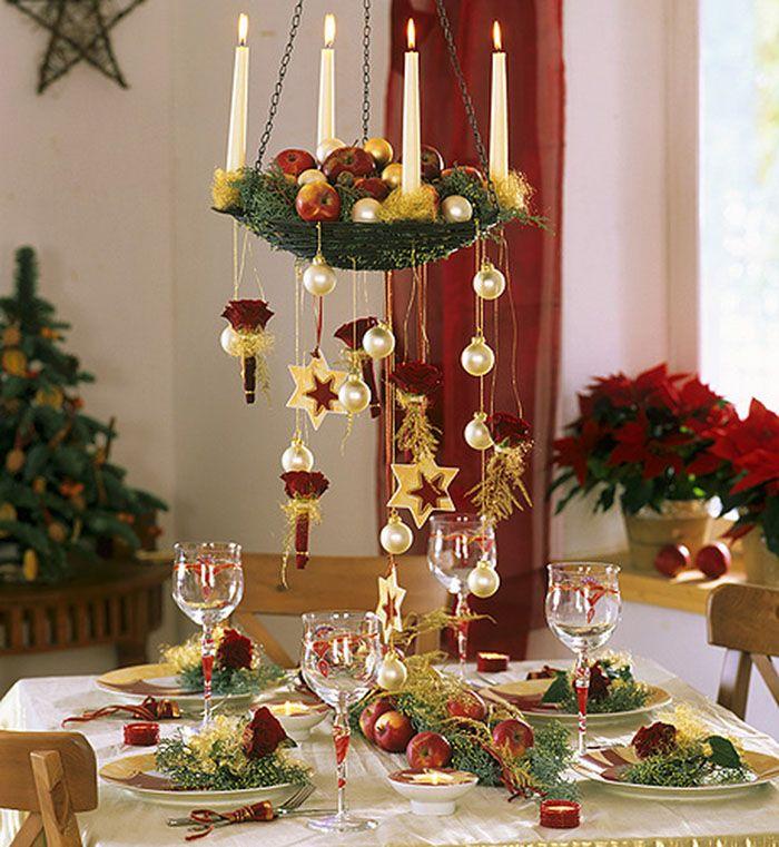 Подвесное кашпо со свечами придает столовой несколько винтажный вид