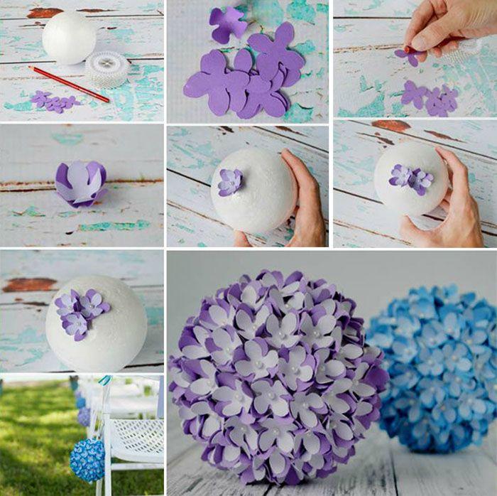 Готовый пенопластовый шарик-основа, множество цветков двух оттенков и булавки с бусинами на концах. Подойдут обычные швейные булавки. Каждый цветок собирается из двух элементов и фиксируется булавкой