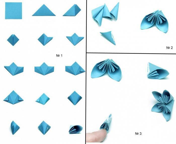 Начать можно со сборки одного элемента. Как только в руках появится такой цветочек оригами, захочется делать их еще и еще