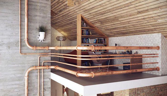 Декоративные трубы становятся перилами. Даже для комнатных цветов горшки подобраны в едином стилевом решении
