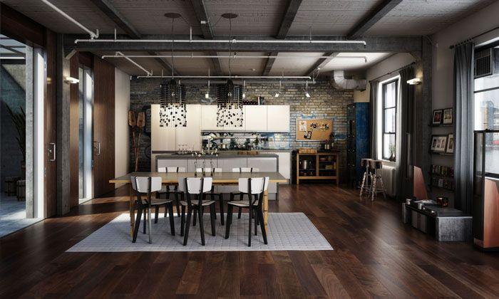 Весла смотрятся интригующе, но, хозяевам виднее, что должно стоять у них на кухне. А если серьезно, то это удачное соединение деревянных элементов, кирпичной отделки и металла. Отдельно хочется сказать, что закрытое граффити идеально точно передает идею переоборудования фабричного заброшенного помещения в жилую квартиру