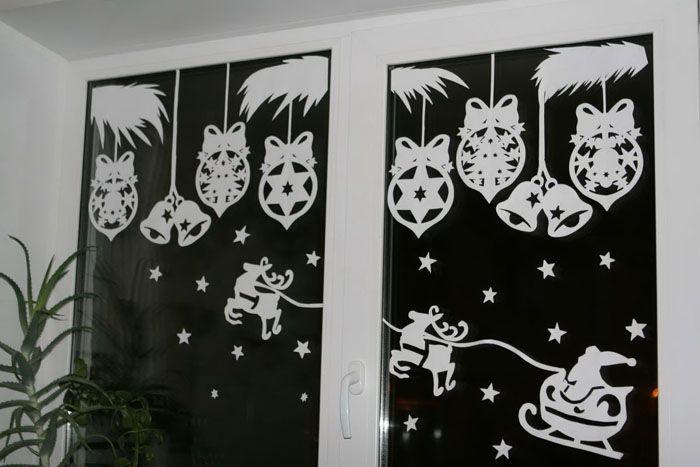 Трафареты украшений на окна к новому году