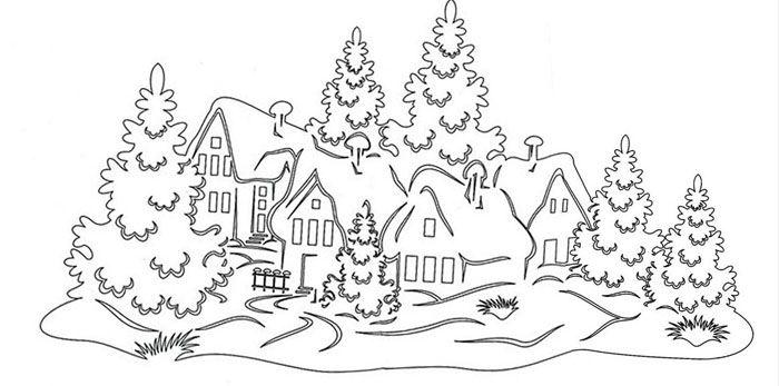 Ещё один вариант деревенских домиков в снегу