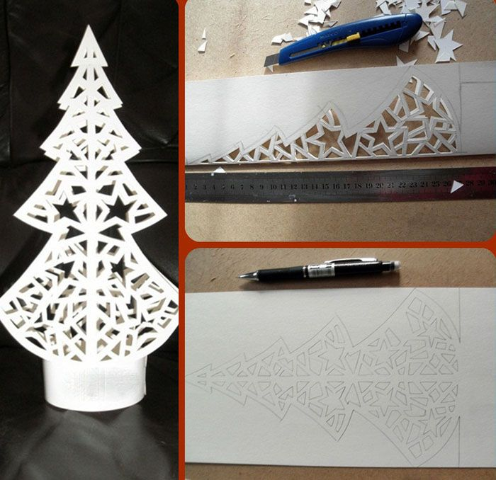 Самостоятельно можно сделать шаблон вытынанки к Новому году любой формы и размера, будь то домик, елка или часы с курантами