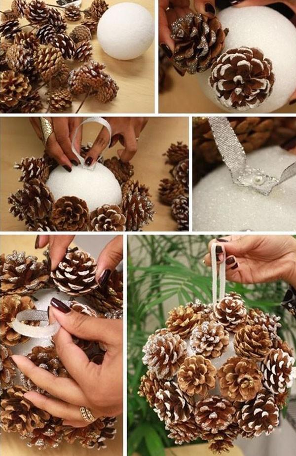 Интересная идея для изготовления крупного ёлочного шара. Не всегда соцветие имеет удобную ножку, которую можно вставить в шар-основу. Выходим из положения, применяя горячий клей