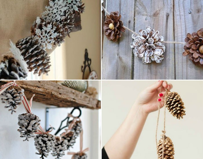 Гирлянда делается из верёвки, ленты или шпагата. На неё шишечки нанизываются с помощью проволоки или крючков, вдетых в основание соцветий