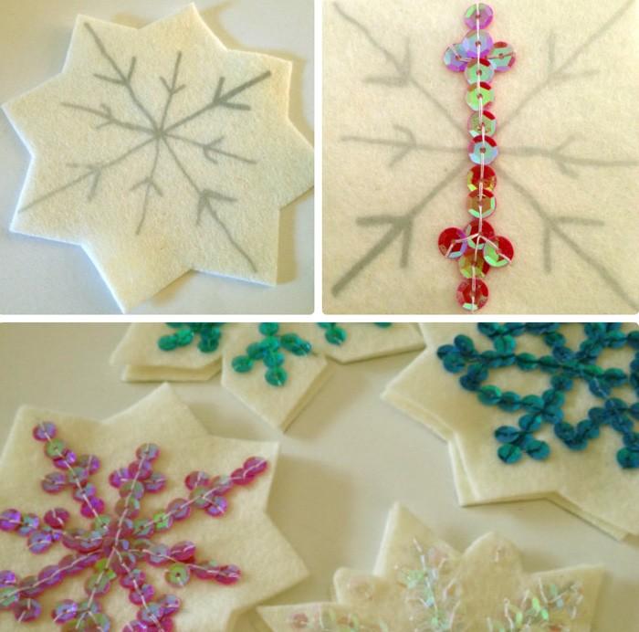 Снежинки красиво декорируют бисером