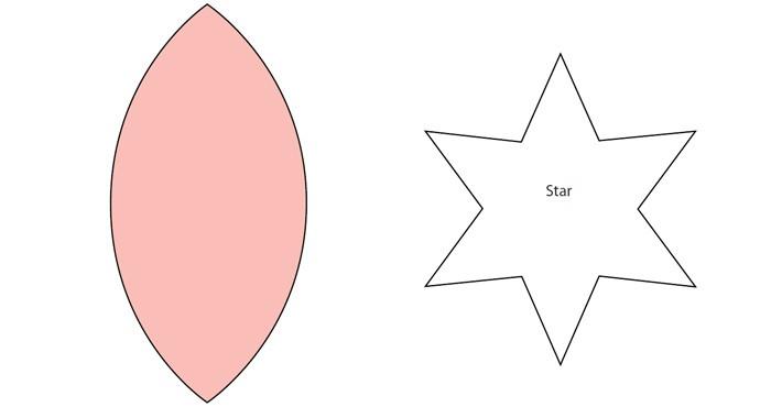 Распечатываем шаблон и вырезаем по 6 деталей на каждый шарик и по одной звёздочке