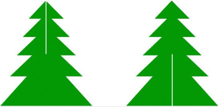 Примерный шаблон ели. Контуры деревца могут быть любыми, главное – прорези должны располагаться только так
