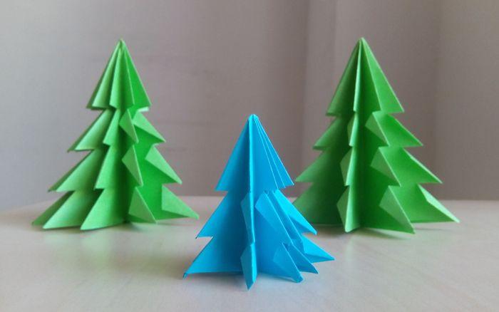 Объёмные ёлки на Новый год из бумаги и картона