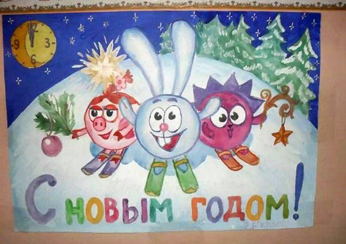 Любители рисовать, могут порадовать детей забавными смешариками на плакате