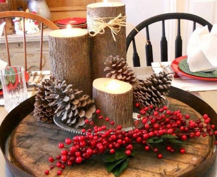Деревянные чурки становятся отличным местечком для свечек и шикарным декором стола