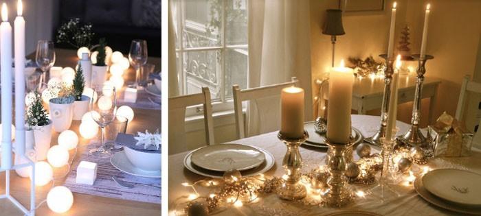 Гирлянды делают стол праздничным и без дополнительного декора