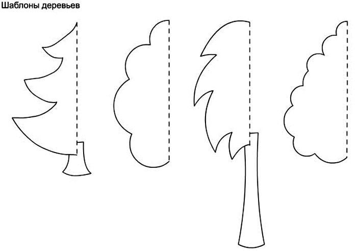 Чтобы создать деревья, можно сложить лист пополам, нарисовать на половинке зимнее деревце в снегу и вырезать сразу обе половинки