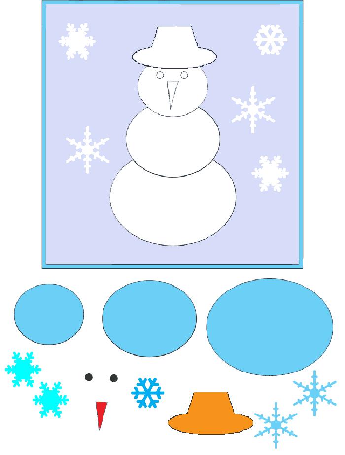 Чтобы сделать милого снеговика можно взять готовый трафарет