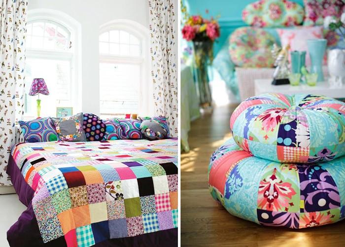 Покрывала и подушки – самое традиционное применение стиля пэчворк