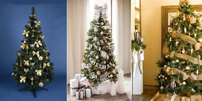 Роскошный современный облик новогоднее деревце получает в результате как хаотичного, так и спиралевидного размещения украшений