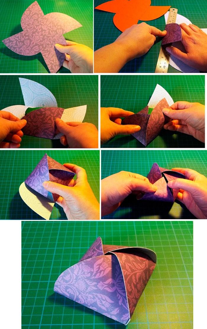 Ещё интересный способ сборки коробочки, напоминающей пирамидку