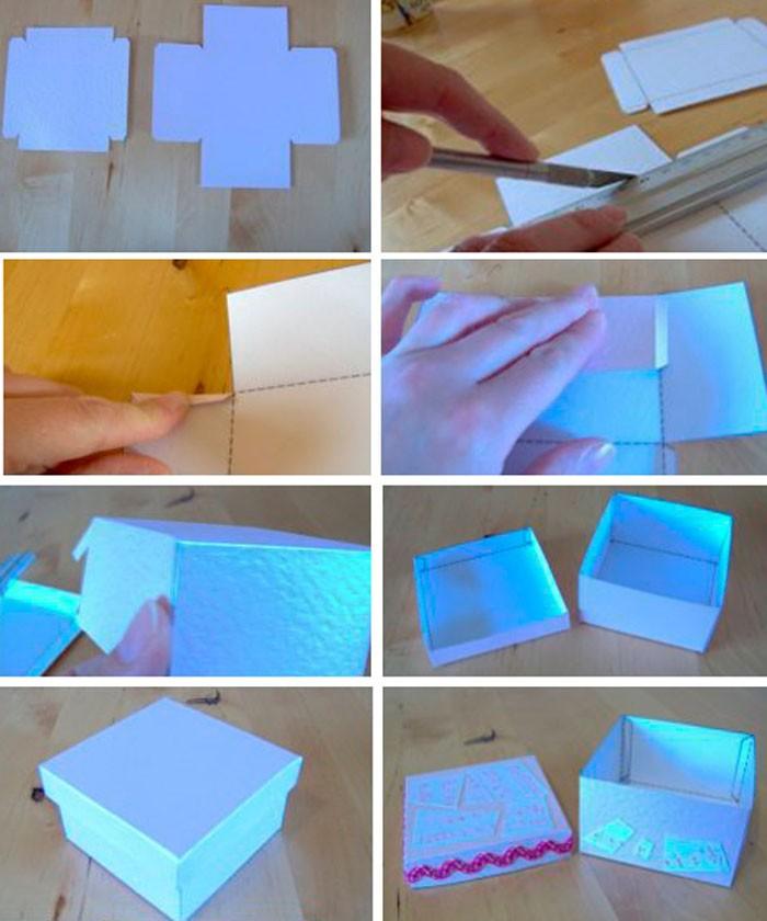 Стандартную упаковку декорируют обёрточной бумагой, скрапбумагой, различными элементами для Handmade
