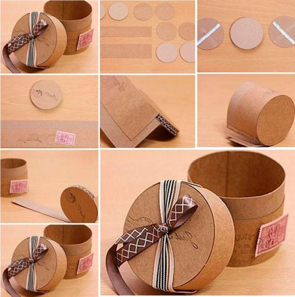 На фото показанокак сделать круглую коробку из плотного картона
