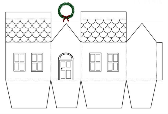 Если перерисовать шаблон через кальку на плотный картон, то изделие можно и разрисовать красками, и обклеить пайетками, и сделать на домике аппликацию из цветной бумаги
