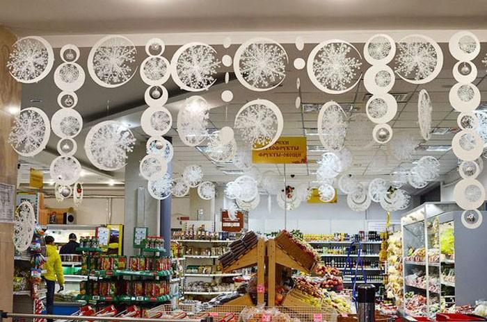 Декор продовольственных магазинов не должен мешать свободному перемещению покупателей, поэтому акцент делают на стены и потолок