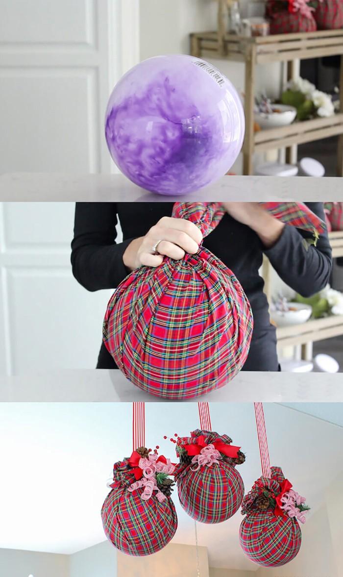 Из обычного шарика и нарядной ткани легко сделать крупноразмерные шары-подвески