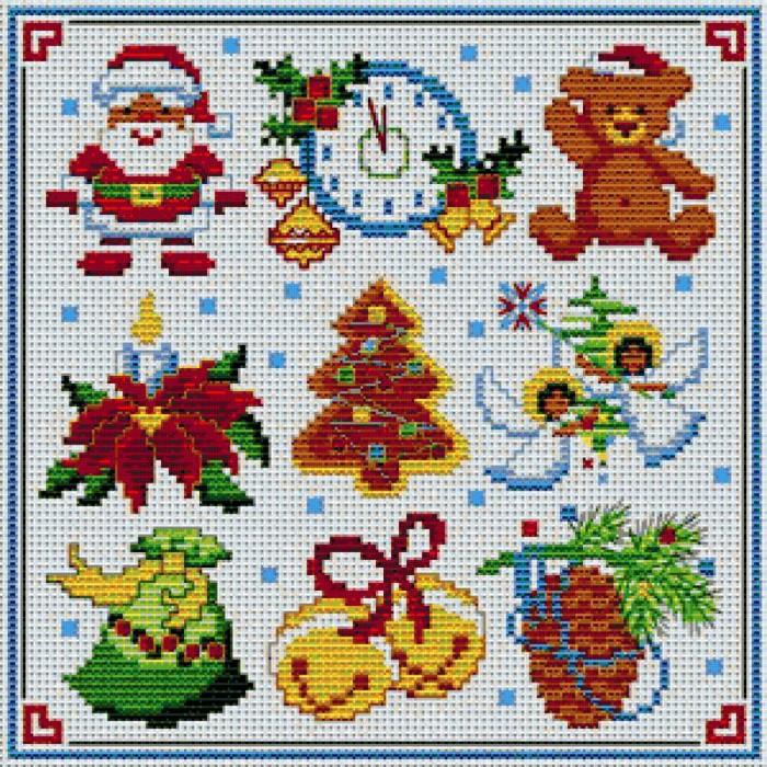 Небольшие картинки традиционного представления Нового года и Рождества вышиваются очень быстро