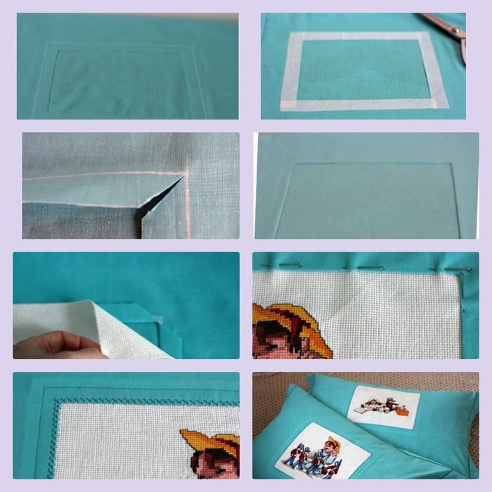 Если есть желание использовать своё мастерство и вставить вышивку в наволочку, то нам потребуется канва и раскрой будущей подушки желаемого размера