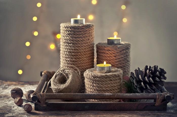 Самый простой вариант: обматываем банки верёвкой и получаем стильную композицию