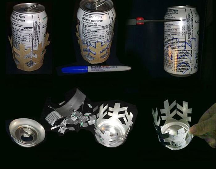 Алюминиевые банки легко режутся и могут стать интересной основой для подсвечника, только не даём трогать их детям из-за острых краёв