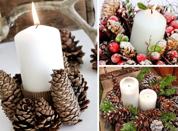 Простой вариант: обматываем свечу картоном, а к нему на горячий клей приклеиваем шишки, посыпаем всё блёстками и декорируем рябиной или бусинами