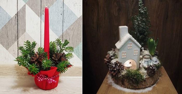 В горшок с землёй втыкаем свечу и ветки, а сам горшочек украшаем фетровой красной тканью. Или же используем готовый подсвечник-домик, а хвою возьмём как элемент декора