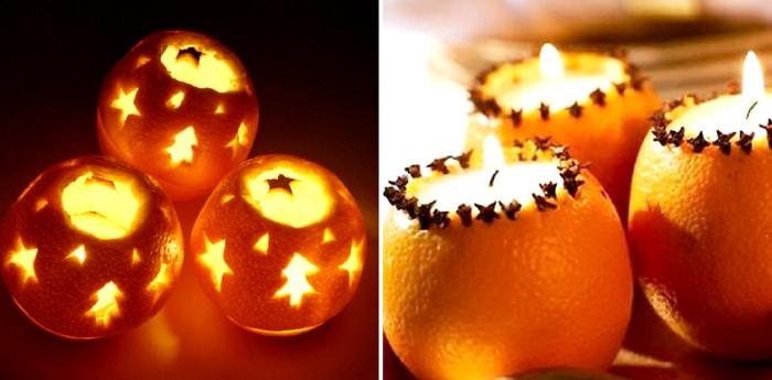 Выскребаем начинку из мандарина или апельсина, прорезаем острым резаком любые узоры и устанавливаем внутрь свечу
