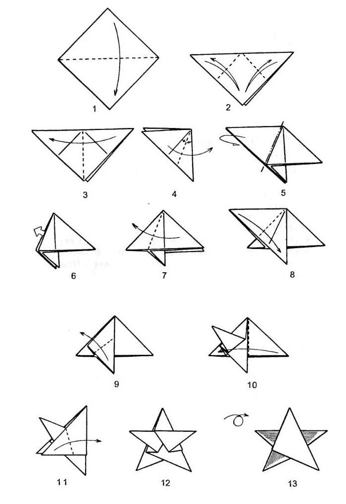 Форма звезд разная, поэтому и схемы сборки меняются