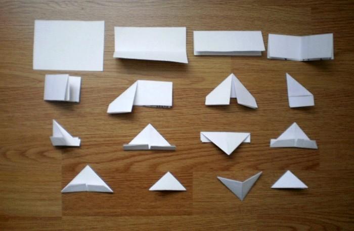 Базовый модуль изготовить нетрудно. Труднее сделать множество таких небольших треугольников