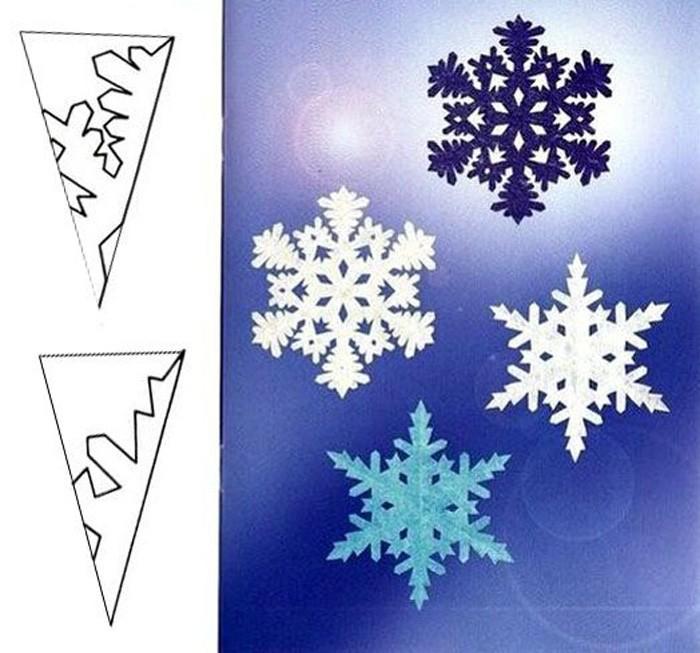 Не обязательно использовать только белый цвет, также хорошо смотрятся снежинки в холодной цветовой гамме