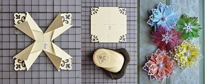 Креативное применение углового фигурного дырокола. Для большей выразительности края обрабатывают серебряной или золотой краской