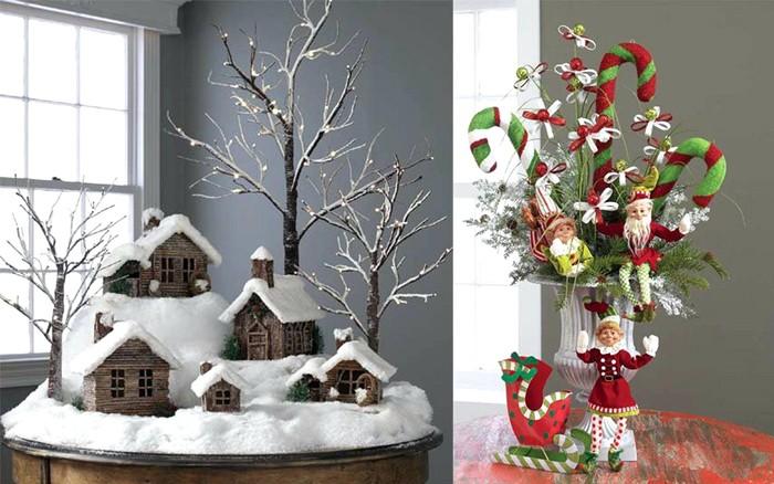 Нечасто используемые журнальные столики могут уместить на себе объёмную новогоднюю композицию, которую делали всей семьёй