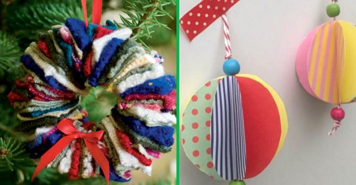 Из ниток, ткани, бумаги делают разные виды новогодних украшений