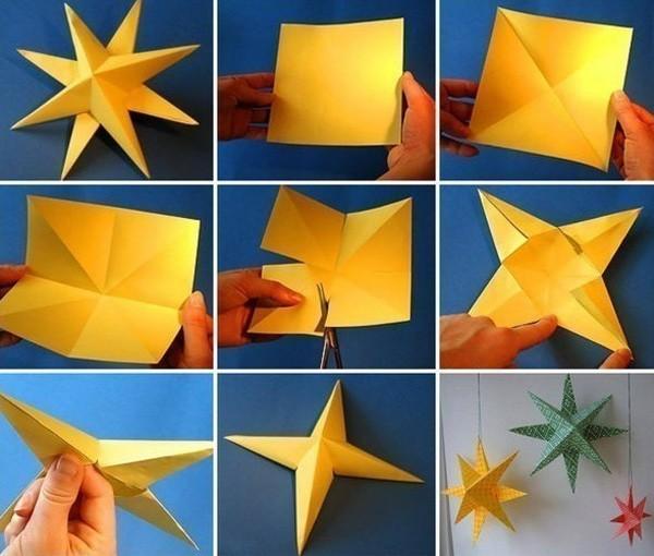 Из листа бумаги — в объёмную звезду