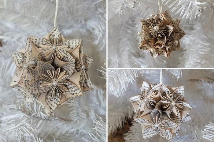 Оригами из книжных страниц? Подходит для винтажного оформления ёлочки