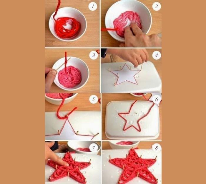 Плоские новогодние фигуры получают, используя подложку, канцелярские гвоздики и клей ПВА